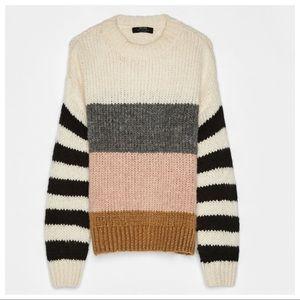 NWT. Bershka Knit Colour Block Sweater. Size L.